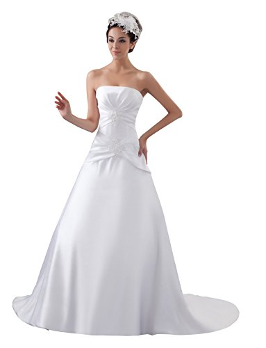 VogueZone009 Womens Strapless Pongee Satin Wedding Dress with Bead, ColorCards, 16 by VogueZone009