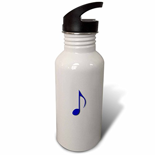 "3dRose wb_232070_2 ""Eighth note Music note purple blue and single musical quaver Flip Straw"" Water Bottle, 21 oz, White"