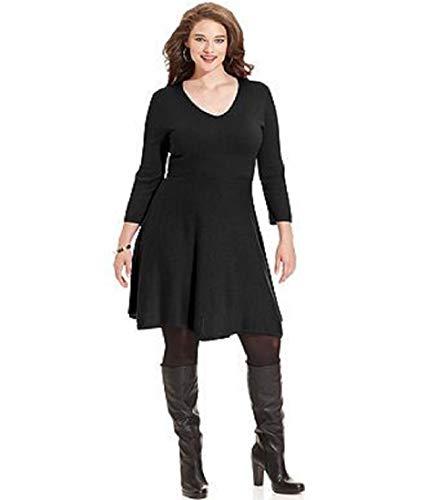 Spense Womens Sweater Dress Solid Black 3/4 Sleeves V-Neck Career Plus Size 1X