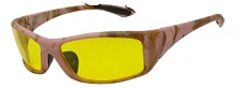Men and Women Unisex Camouflage Yellow Night Driving Wrap Around Sunglasses Eyeglasses, Yellow Lens for Better Night Vision, Pink Camo (Microfiber Pouch - Hd Wrap Sunglasses Around
