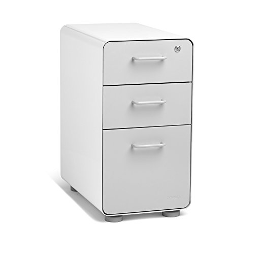 Poppin White + Light Gray Slim Stow 3-Drawer File Cabinet