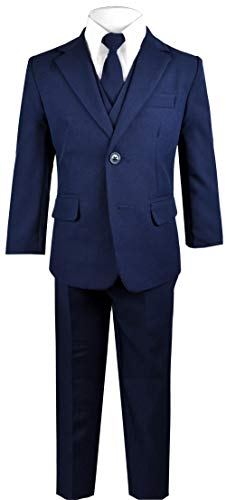 Black n Bianco Big Boys Solid Suit and Tie (14, A Navy) -