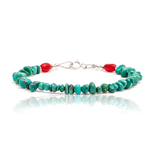 ($70 Tag Natural Turquoise and Coral Silver Certified Authentic Navajo Native American Link Bracelet )