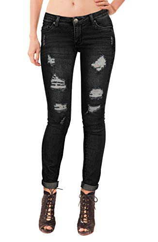 Women's Butt Lift Stretch Denim Jeans P37353SK Black - Jeans Skinny Capri Juniors