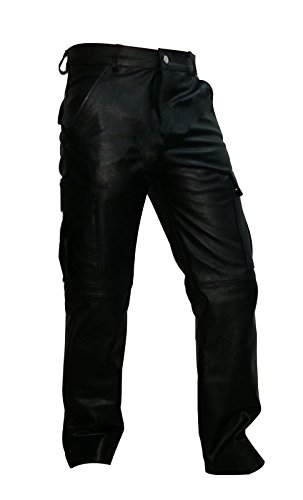 Pants Fully Lined (Olly And Ally Mens Real Black Leather 6 Pockets Cargo Pants Jeans Fully Lined - (CARGO2) W40 X L29)