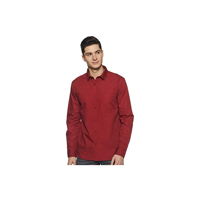 31C7T lBl L. SS768  - Amazon Brand - Symbol Men's Solid Regular Fit Casual Shirt