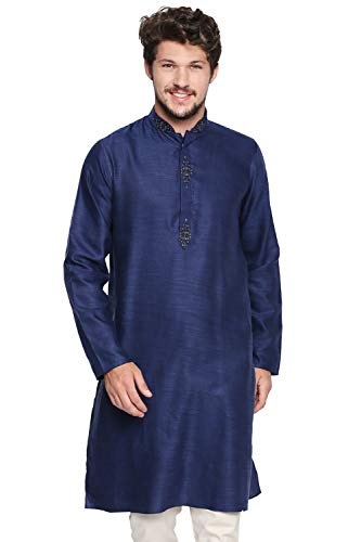 Shatranj Men's Indian Classic Collar Long Kurta Tunic with Embroidered Placket, Navy Blue, MD