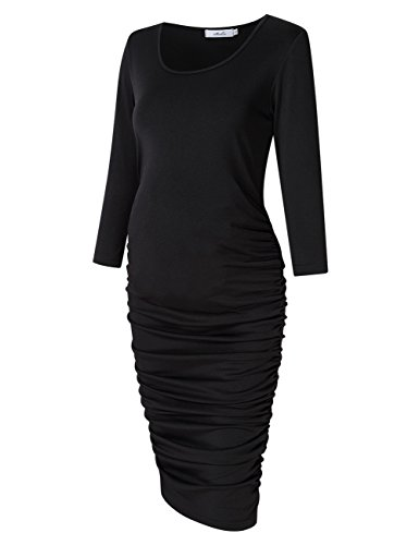 Coolmee Maternity Dress Ruched Round Neck Maternity Dresses