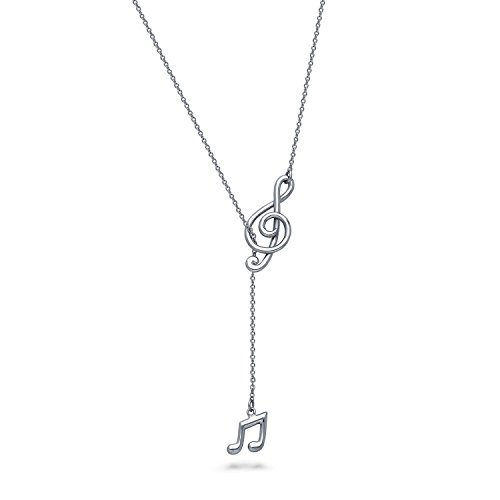 BERRICLE Rhodium Plated Sterling Silver Treble Clef Music Note Fashion Lariat Necklace