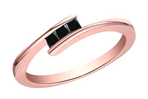 (Prism Jewel 0.20Ct Princess Cut 3 Black Diamond Tension Set Trilogy Ring, 10k Rose Gold, Size 9)