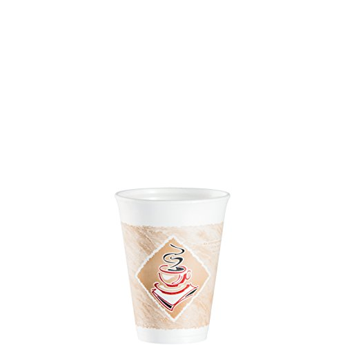 Cafe G Hot/cold Cups, Foam, 12oz, White W/brown amp; Red, 20/bag, 50 Bags/carton