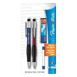 (Paper Mate ComfortMate Ultra Mechanical Pencil Starter Set, HB Lead, 0.7 mm, Assorted Barrel Colors, Pack of 2 Pencils)