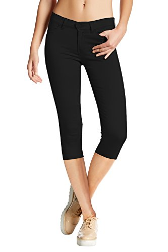 Women's Hyper Stretch Denim Capri Jeans Q44876X Black 2X