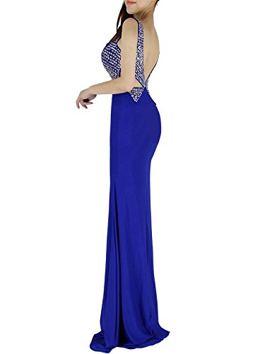 Grace Karin® Sequins Prom Gowns Long Mermaid Backless Royal Blue (6)