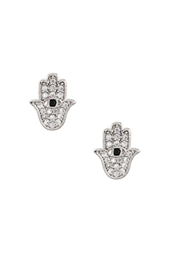 Karmas Canvas CZ Stone Pave Dainty Hamsa Hand Post Earring (Rhodium)