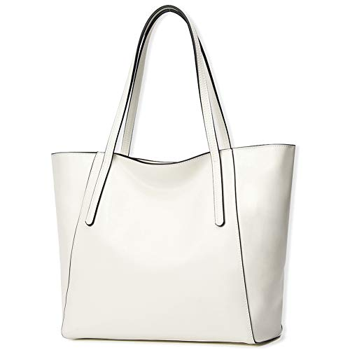 CHERRY CHICK Women's Genuine Leather Purse Daily Tote Shoulder Bag Ideal for Spring & Summer (Off White-9816)
