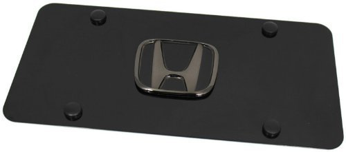 (Honda Pearl Black Emblem Logo Front License Plate Frame Black Stainless Steel)