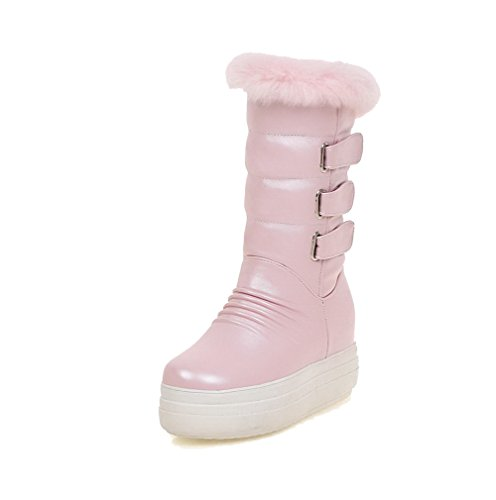 AgooLar Damen Rund Zehe Hoher Absatz Ziehen auf Mitte-Spitze Stiefel, Pink, 35