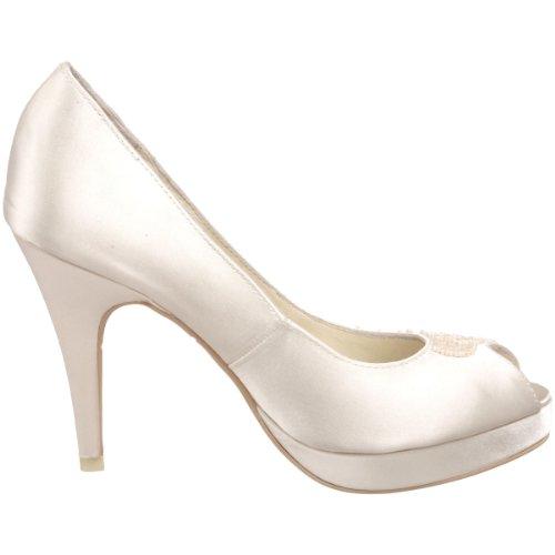 Menbur Wedding Lorena 4324 - Peep Toes de satén para mujer Marfil