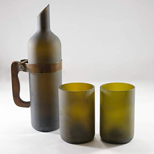 FROSTED OLIVE GREEN CARAFE JUG SET WITH 12 OUNCE TUMBLERS GLASSES