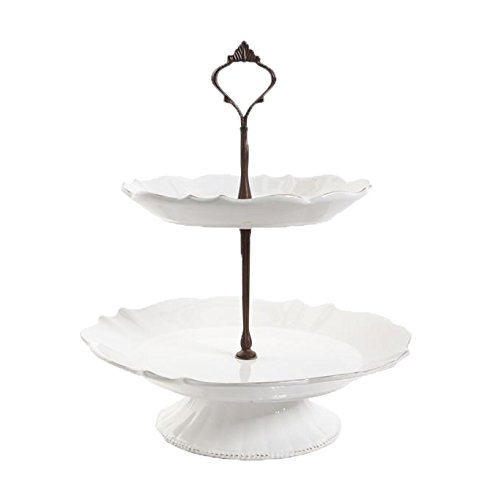 David Tutera Matra Two Tier Tray Set, Cream 105629.02R