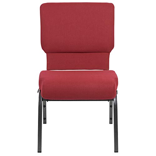 Advantage Burgundy Church Chair with Book Rack 20.5 in. Wide