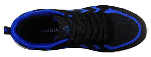 iLoveSIA Herren Sportschuhe leicht Fitness Laufschuhe atmungsaktiv Mesh Blau Streifen