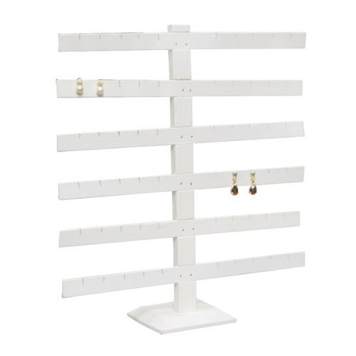 White Faux Leather Large T-Bar Earring Display Rack 15H Jewelry Holder Stand