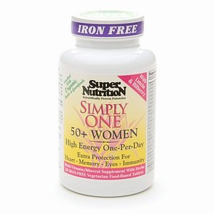 Super Nutrition Simply One 50+ Women Power High Potency Multivitamins, Iron Free Veggi Tablets 90…