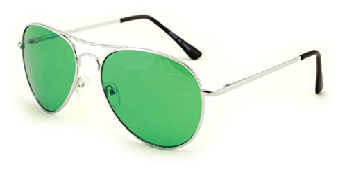 Vision World Eyewear - Colorful Silver Metal Aviator With Color Lens Sunglasses (Green lens) -