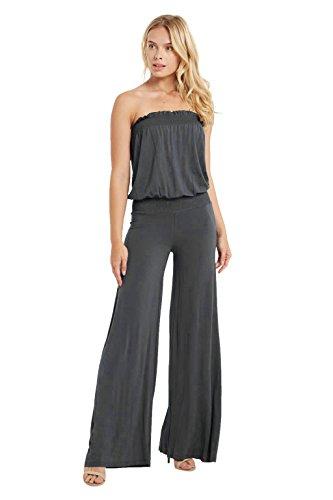 0185616933e8 Poshsquare Women s Smocked Tube Strapless Jersey Wide Leg Pants Jumpsuit  Playsuit USA Grey Plus XL