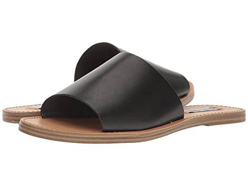 Steve Madden Women's Grace Flat Sandal, Black Leather, 7.5 M US