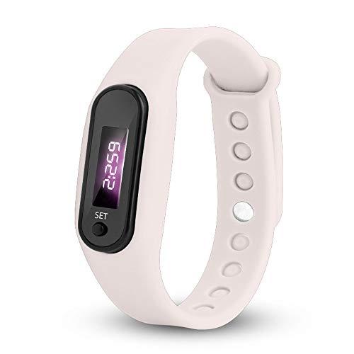 Coersd Run Step Watch Bracelet Pedometer Calorie Counter Digital LED Walking Distance (White)