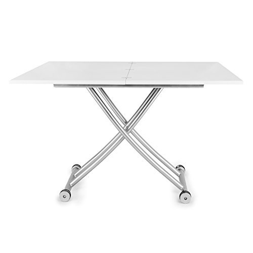 SpaceMaster Corner Housewares Modern Multi-Purpose Dining Room Wheeled Transforming Adjustable Expanding X Lift Coffee and Dining Table, White Finish
