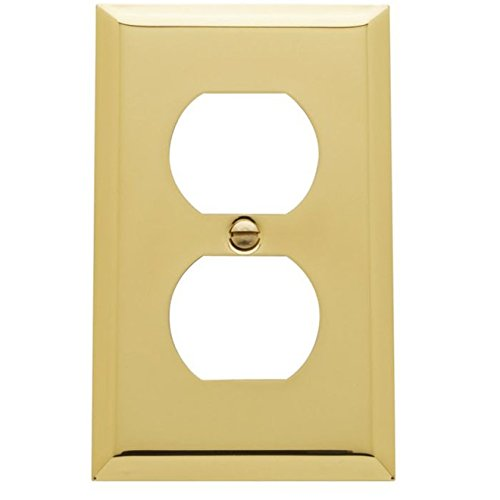 Baldwin 4752.030.CD Classic Square Beveled Edge Duplex Switch Plate, Polished Brass - Lacquered - Cover Solid Brass Switchplate