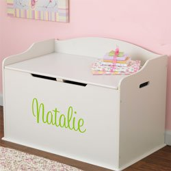 Personalized Austin Toy Box - Color: Vanilla - Font: Script - Font Color: Lime
