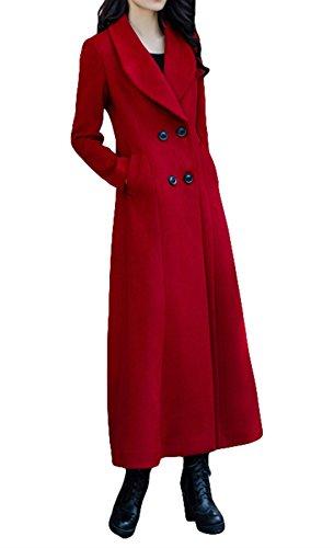 Longue Femmes Manteau Aux Laine Tranchée Plaer Cachemire De Bouton qCwI4Rn5