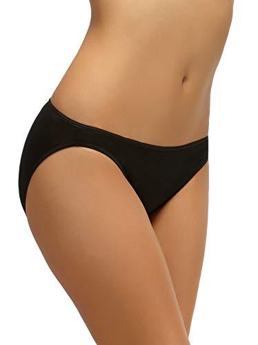 Felina Women's So Smooth Low Rise Bikini Panty Underwear, Black, L