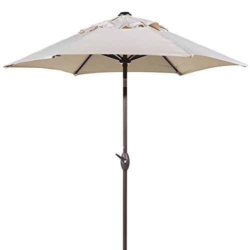 Abba Patio 7-1/2 ft. Round Outdoor Market Patio Umbrella with Push Button Tilt and Crank Lift, Beige by Abba Patio