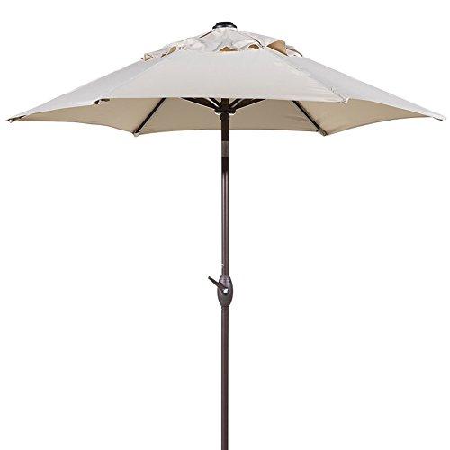 Abba Patio Outdoor Patio Umbrella with Push Button Tilt and Crank, 7-1 2-Feet, Beige