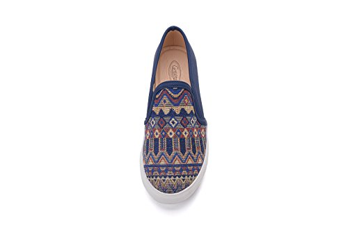 Tribal na Lady Women Fashion On Pattern Mila Cornelia Sneakers Navy Canvas Slip SRqPC