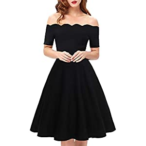 Womens Vintage Cocktail Party Dresses Off The Shoulder Scalloped A-Line Tea  Length Dresses for Women(Black ce104995c