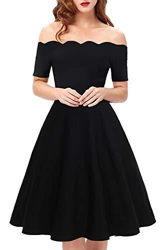 Line Tea (Womens Vintage Cocktail Party Dresses Off The Shoulder Scalloped A-Line Tea Length Dresses for Women(Black,Small,1071))