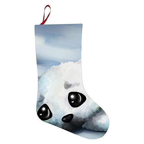 (tolbert wisfins Christmas Santa Stockings White Seal Xmas Present Sock Holiday Hanging Ornaments Party)