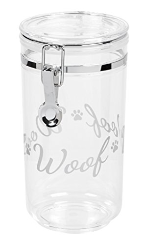 IRIS Acrylic Woof Pet Treat Jar, Silver Acrylic Iris