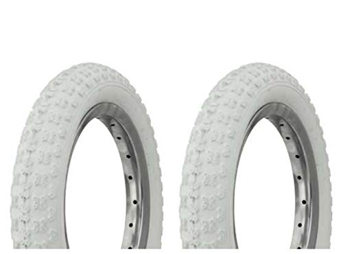 "Lowrider Tire Set. 2 Tires. Two Tires Duro 12 1/2"" x 2 1/4"" White/White Side Wall HF-143G. Bicycle Tires, Bike Tires, Kids Bike Tires"