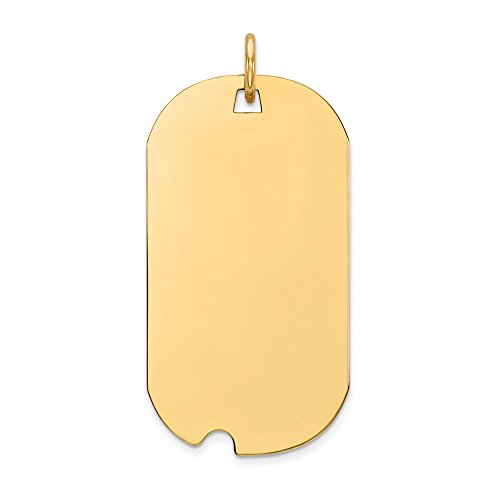 Solid 14k Yellow Gold Plain .011 Gauge Engravable Dog Tag with Notch Disc Pendant Charm (16mm x 33mm)
