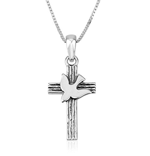 Marina Jewellery Genuine 925 Sterling Silver Chain Necklace and Cross with Dove Pendant Charm, 18 Inch Box Chain