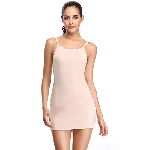 Long Full Slips for Under Dresses Sleeveless Cami Slip Dress V Neck Nightgown Tank Tops (Nude-1, Small/Medium)