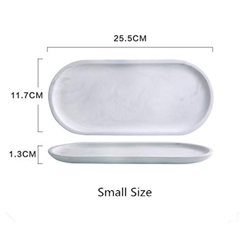 (Luxury White Marble Ceramics Storage Tray Oval Ellipse Fruit Tray Decorative Plate Jewelry Food Dessert Storage Dish Decoration)